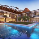 Rendering of Side Wing From Pool - Evening View