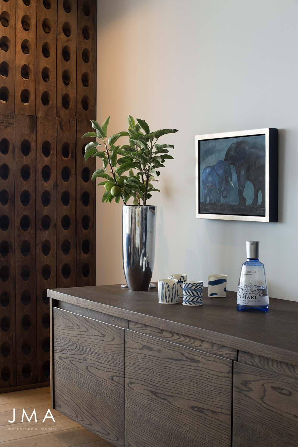 Atlantic Views Sea Point apartment interior renovation by Jenny Mills Architects - Living Room Joinery design