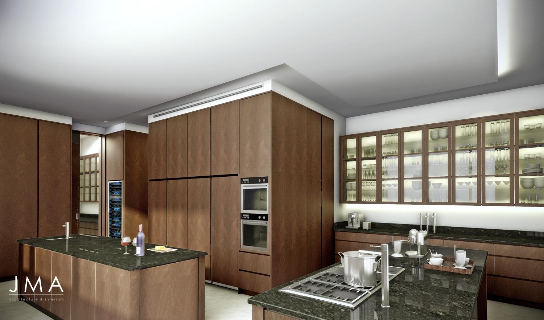Avenue Fresnaye Villa Main Kitchen Render - Interior Architectural design by Jenny Mills Architects