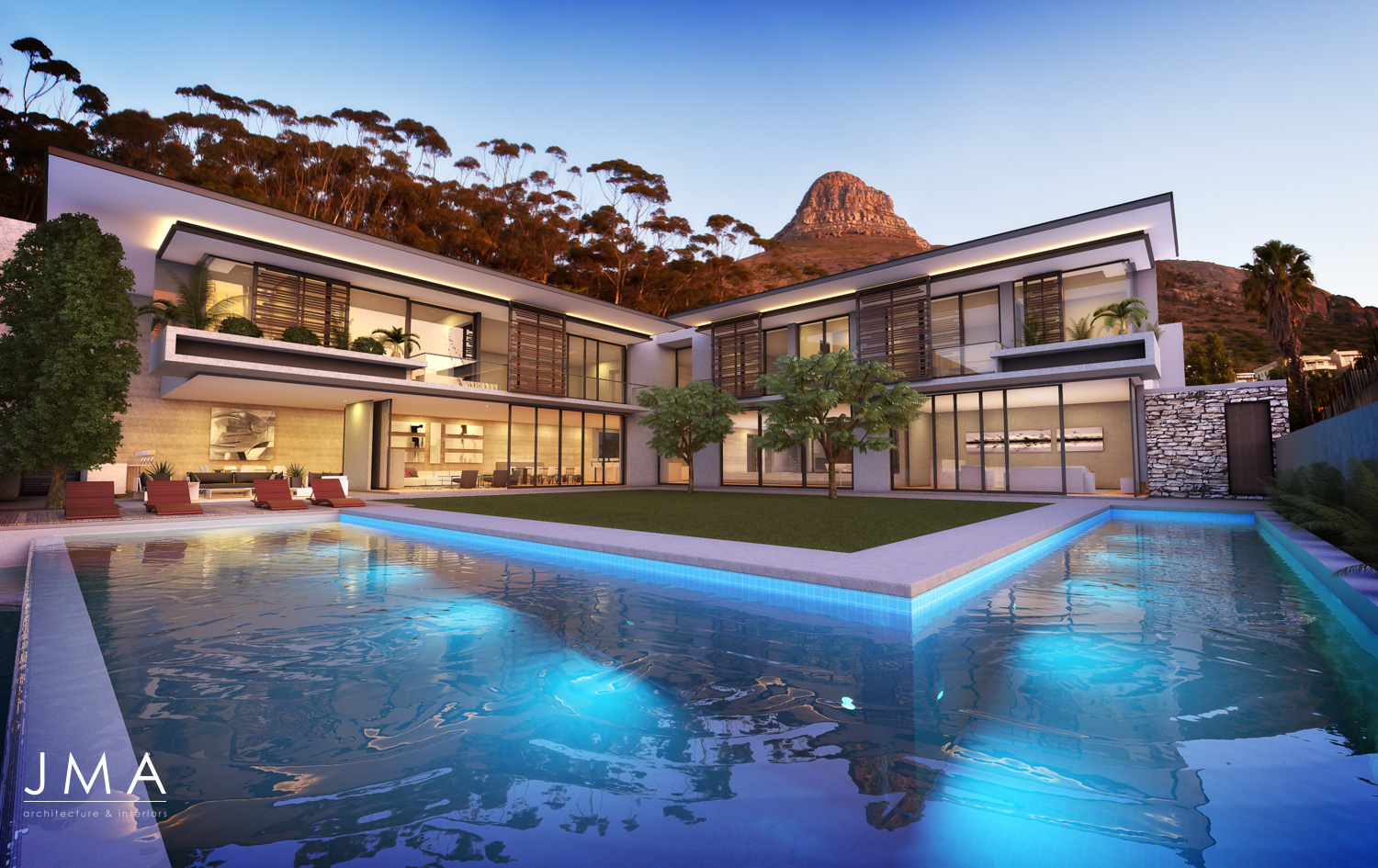 Avenue Fresnaye Villa Rendering of Side Wing From Pool - Evening View  - Interior Architectural design by Jenny Mills Architects