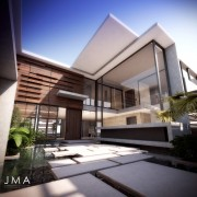 Avenue Fresnaye Villa Entrance Courtyard Render - Interior Architectural design by Jenny Mills Architects