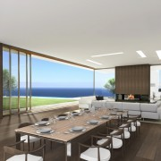 Avenue Fresnaye Villa Lounge / Dining Area Render - Interior Architectural design by Jenny Mills Architects