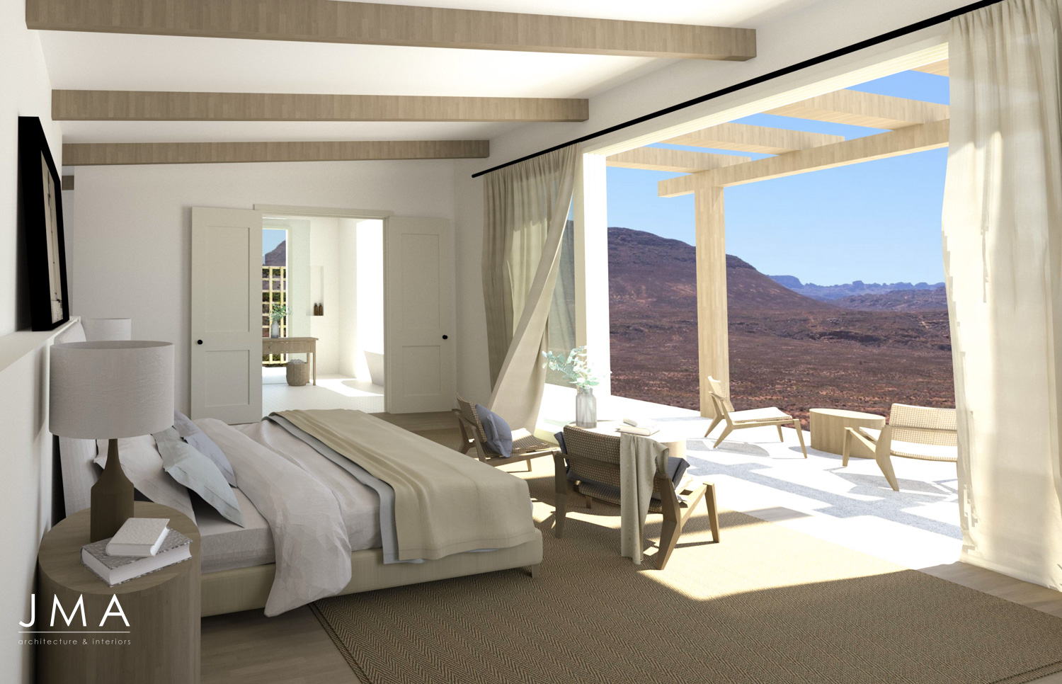 Cederberg Ridge Lodge Bedroom design and render by Jenny Mills Architects