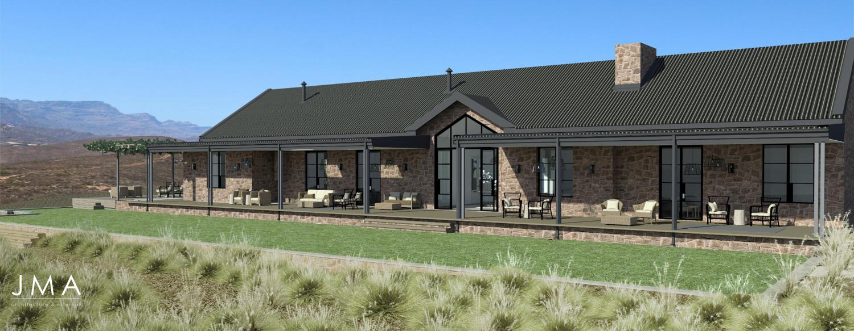 Cederberg Ridge Lodge Design & External render by Jenny Mills Architects