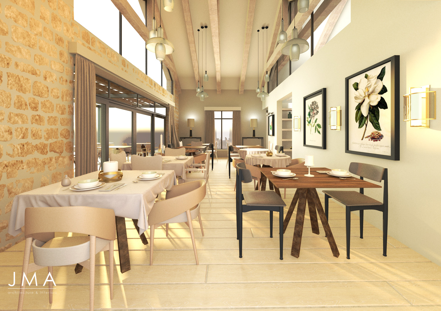 Cederberg Ridge Lodge Dining Room View design and render by Jenny Mills Architects