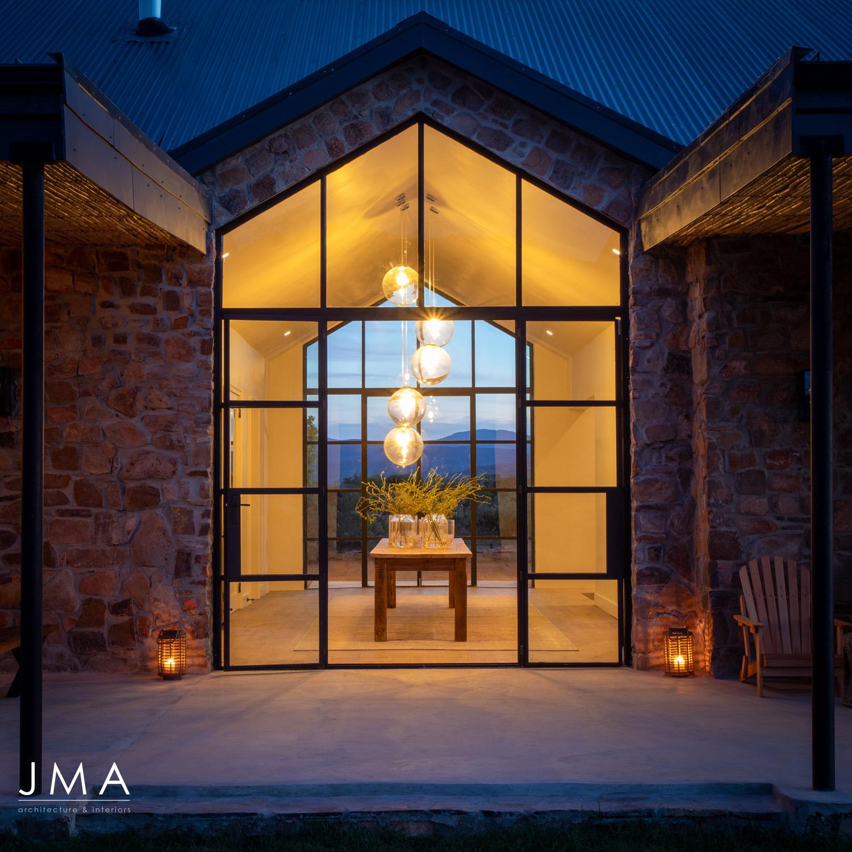 Cederberg Ridge Lodge Entrance Evening - design by Jenny Mills Architects
