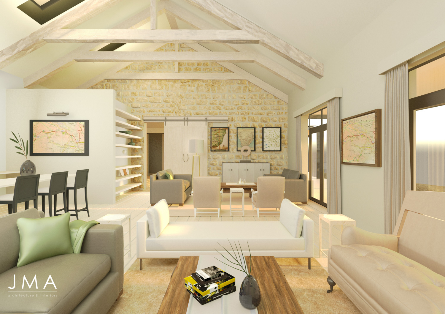 Cederberg Ridge Lodge Living design and render by Jenny Mills Architects