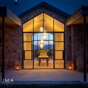 Cederberg Ridge Lodge Entrance Evening - design by Jenny Mills Architects