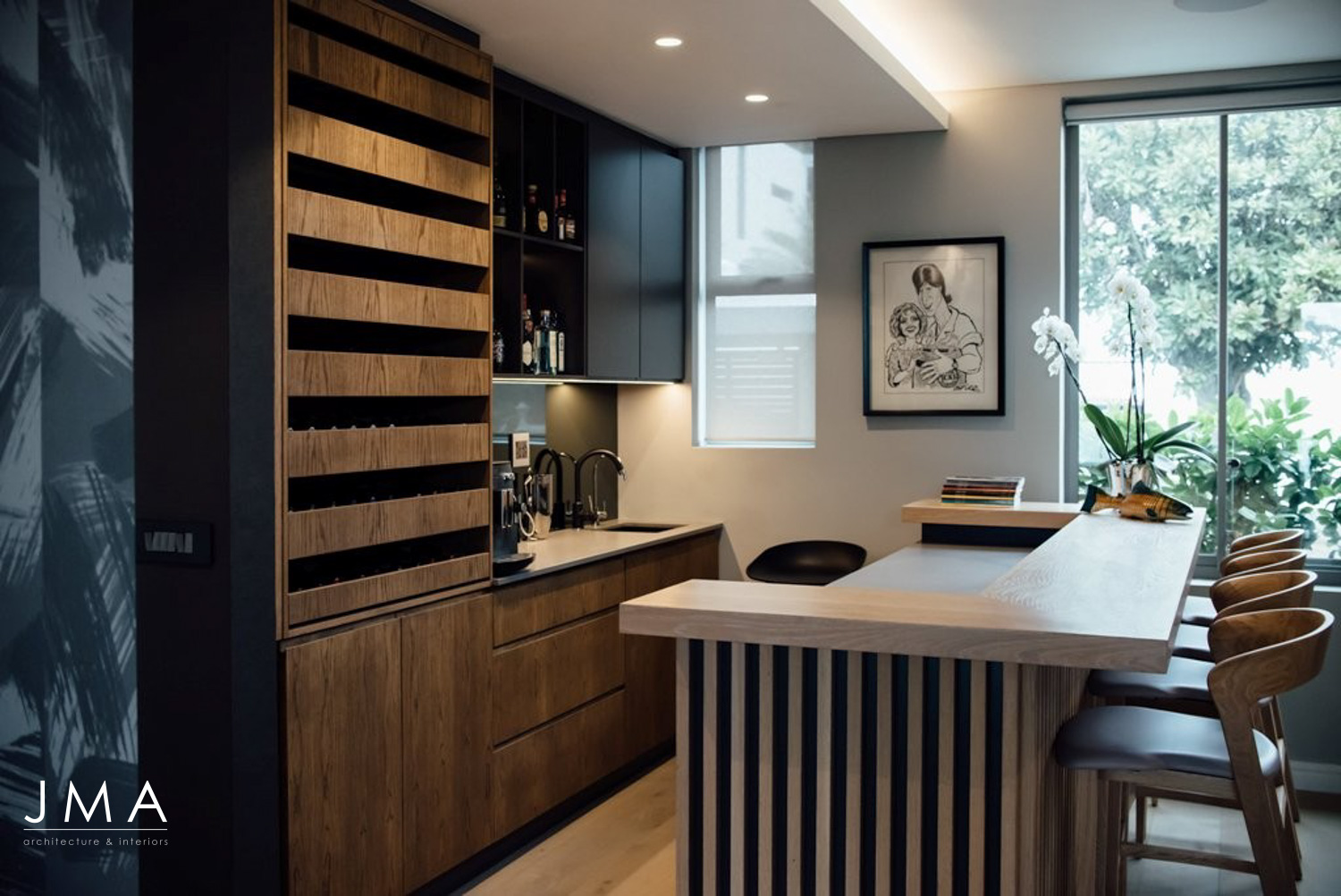 Compact Townhouse living in Fresnaye Avenues design by Jenny Mills Architects - Bar Joinery details & interiors