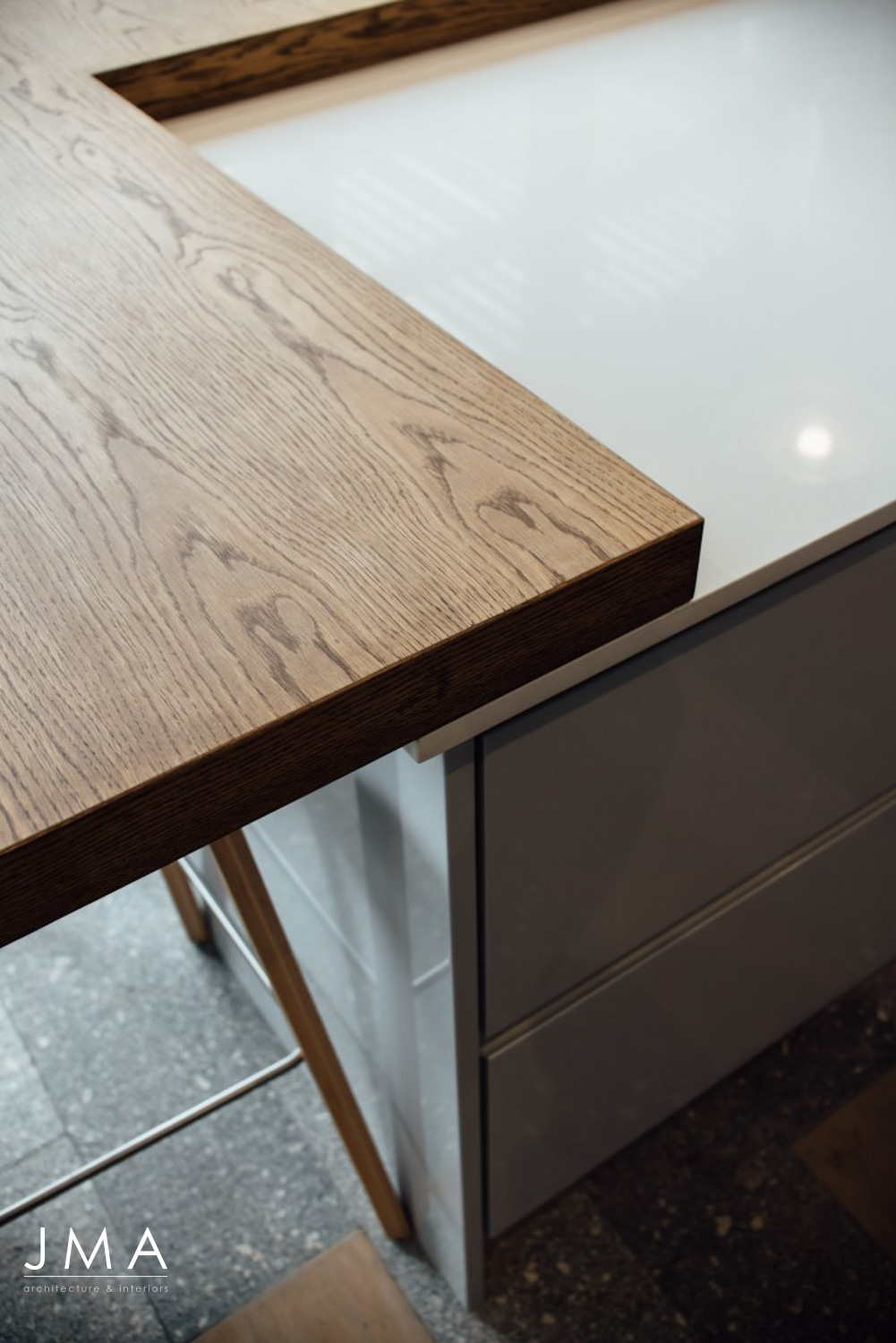 Compact Townhouse living in Fresnaye Avenues design by Jenny Mills Architects - Kitchen Island Detail