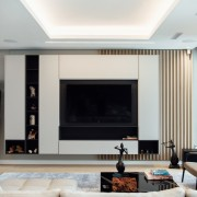 Compact Townhouse living in Fresnaye Avenues design by Jenny Mills Architects - Living Area with TV Unit