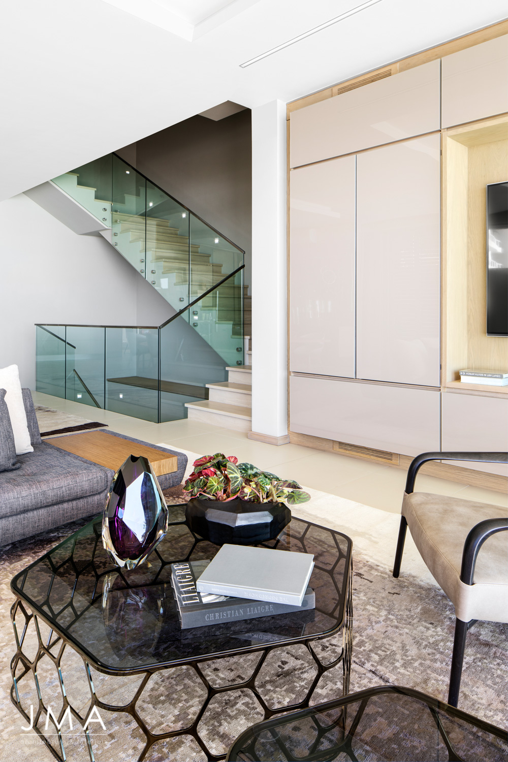 Stair and Living Area with Roche Bobois Furniture