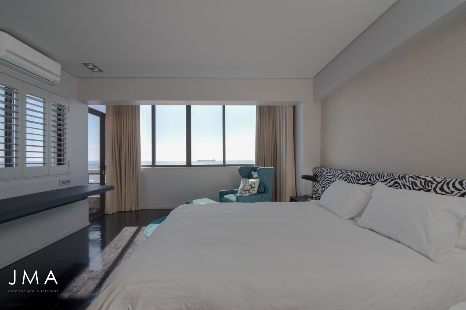 Sea Point Apartment Architecture & Interior Design by Jenny Mills Architects - Master Bedroom View 1