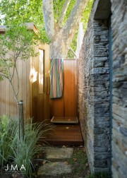 Alphen Constantia Townhouse complete redesign by Jenny Mills Architects - Outdoor Shower