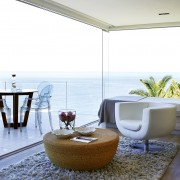 Suspended Clifton Apartment Living Area design by Jenny Mills Architects - View across Terrace