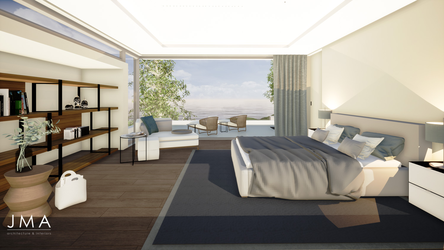 Render of a Campsbay Development of a Upper Unit Bedroom by Jenny Mills Architects