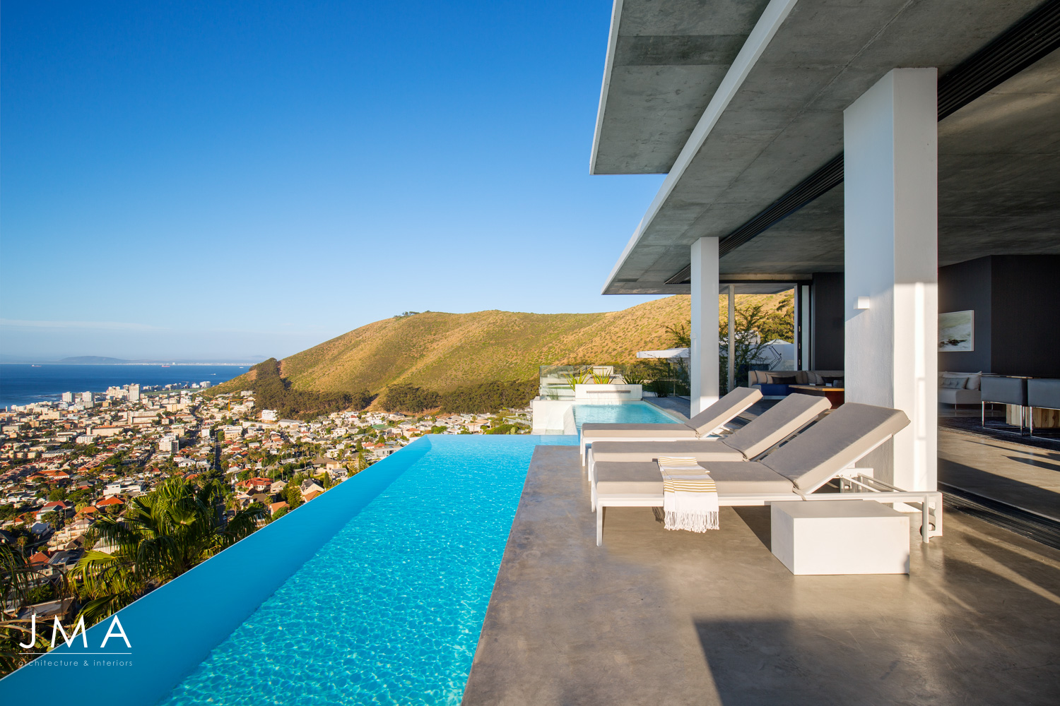 Fresnaye Pool Penthouse external pool view - architectural design by Jenny Mills Architects