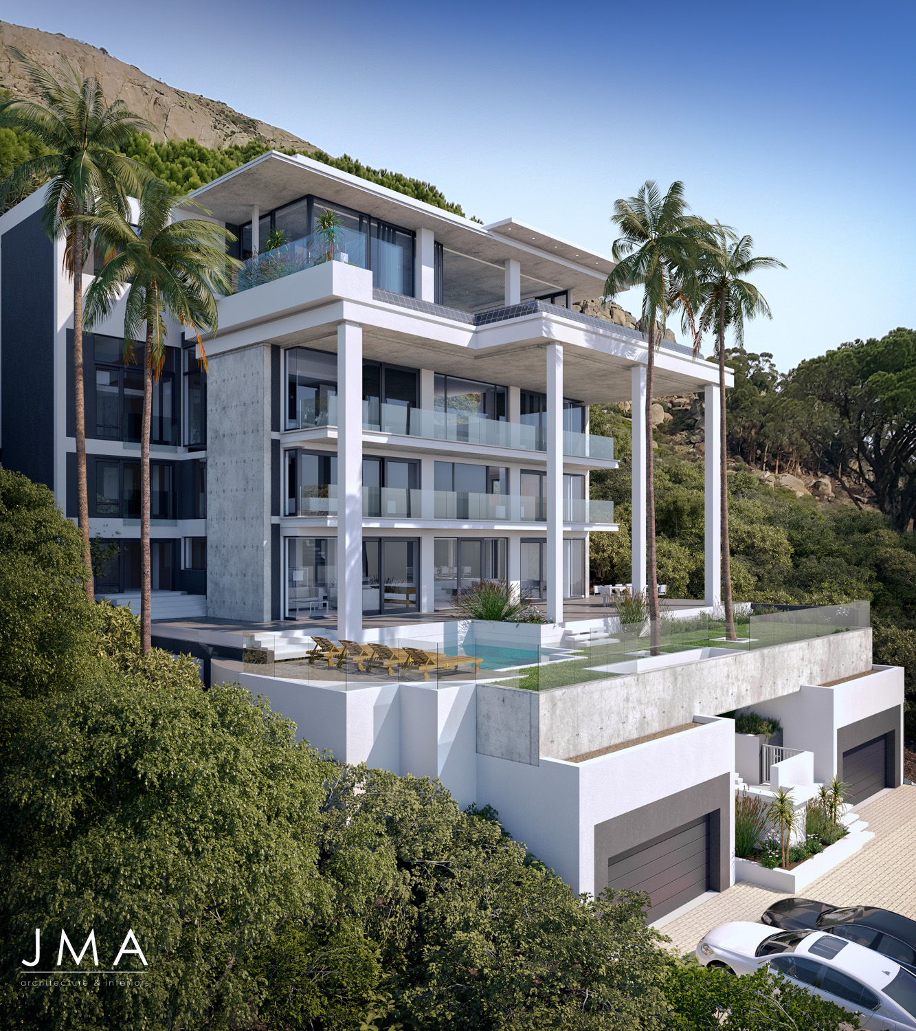 Fresnaye Pool Penthouse external render view - architectural design by Jenny Mills Architects