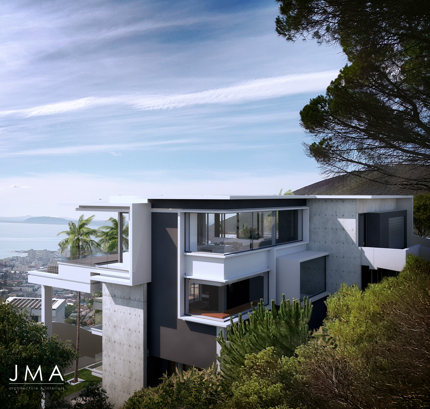Fresnaye Pool Penthouse external street entrance render view - architectural design by Jenny Mills Architects