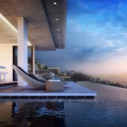 Fresnaye Pool Penthouse external pool render view - architectural design by Jenny Mills Architects