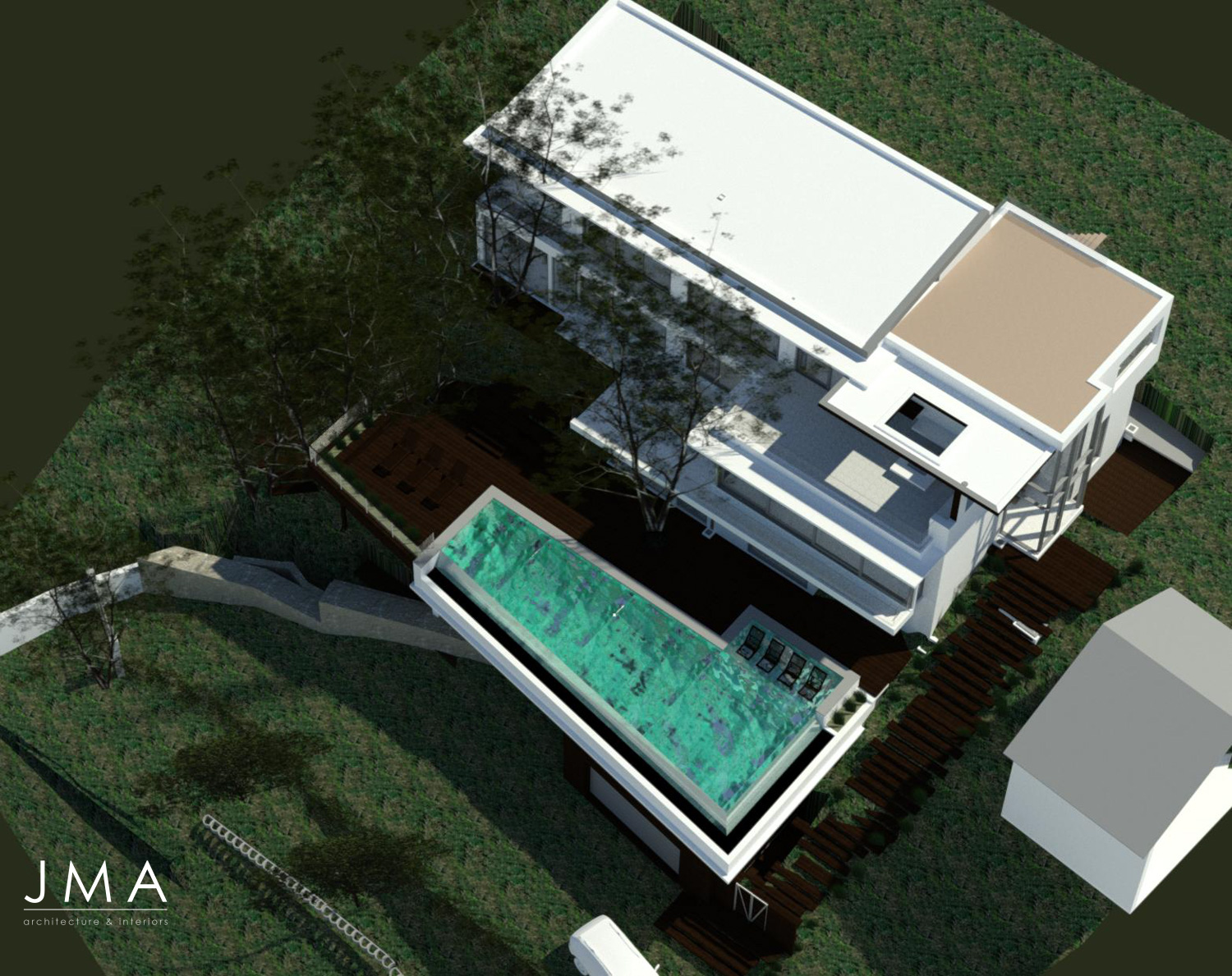 Llandudno Residential Architectural design & render by Jenny Mills Architects - Aerial 3D View
