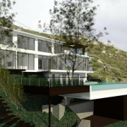 Llandudno Residential Architectural design & render by Jenny Mills Architects - Main View 1 with trees