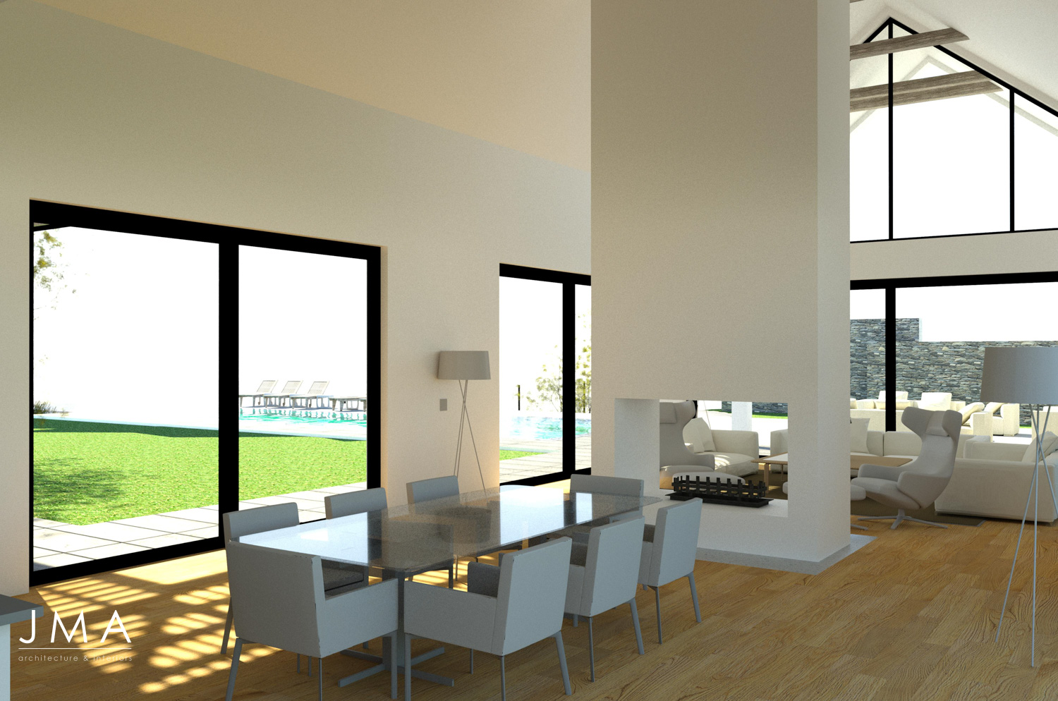 Noordhoek Valley Estate residential design and render by Jenny Mills Architects - Render View (Internal) - Dining to Pool