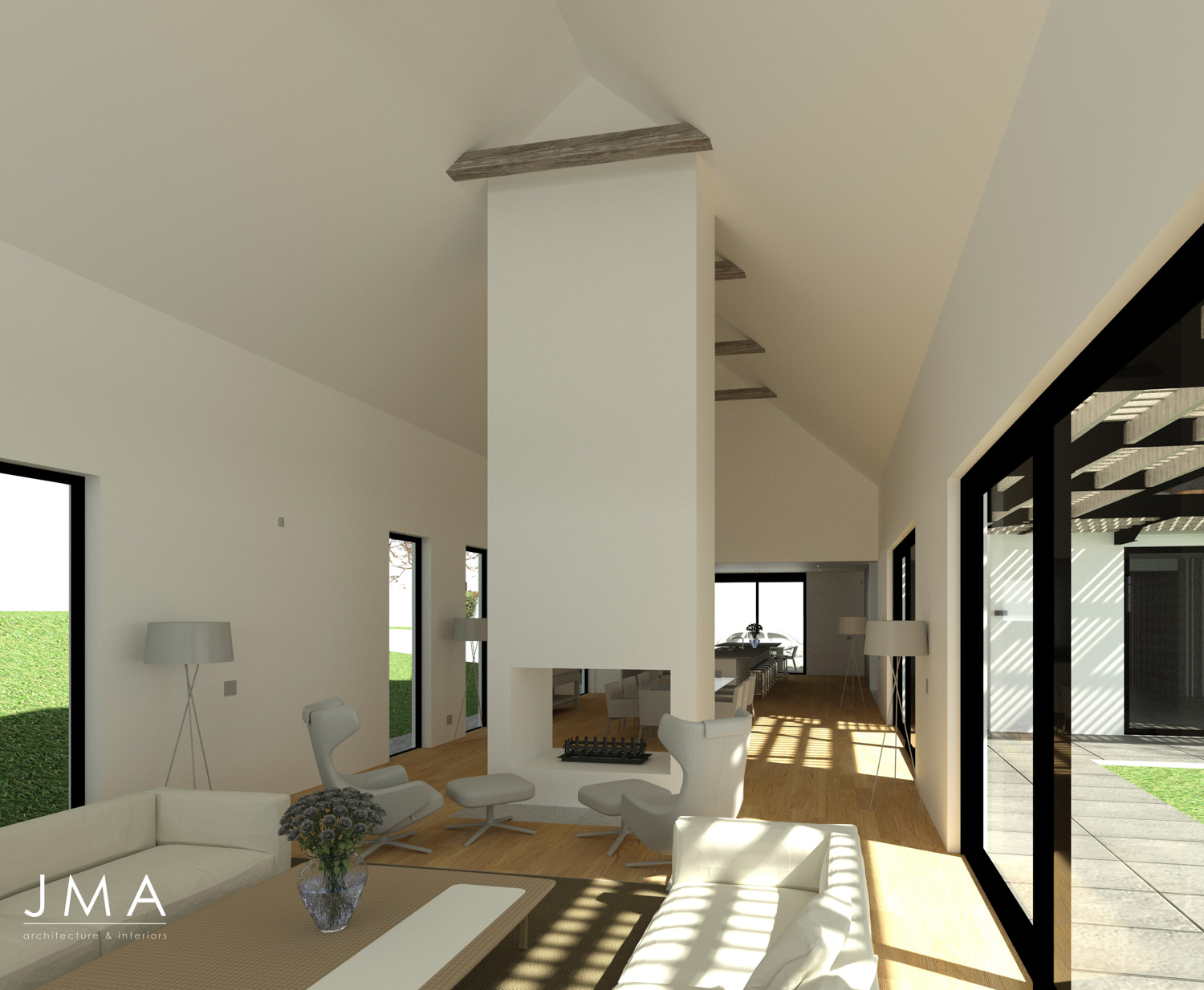 Noordhoek Valley Estate residential design and render by Jenny Mills Architects - Render View (Internal) - Lounge to Kitchen.jpg