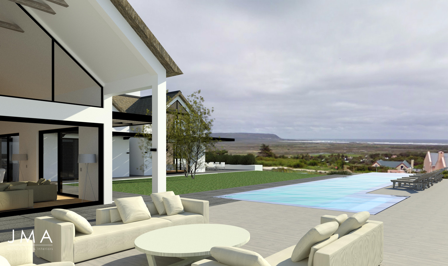 Noordhoek Valley Estate residential design and render by Jenny Mills Architects - Render View - North 1