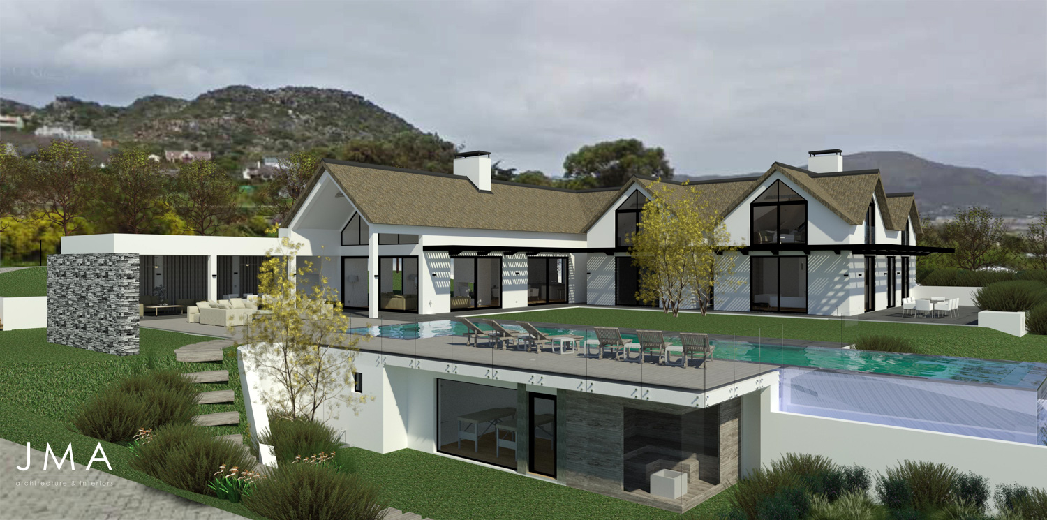 Noordhoek Valley Estate residential design and render by Jenny Mills Architects - Render View - North West