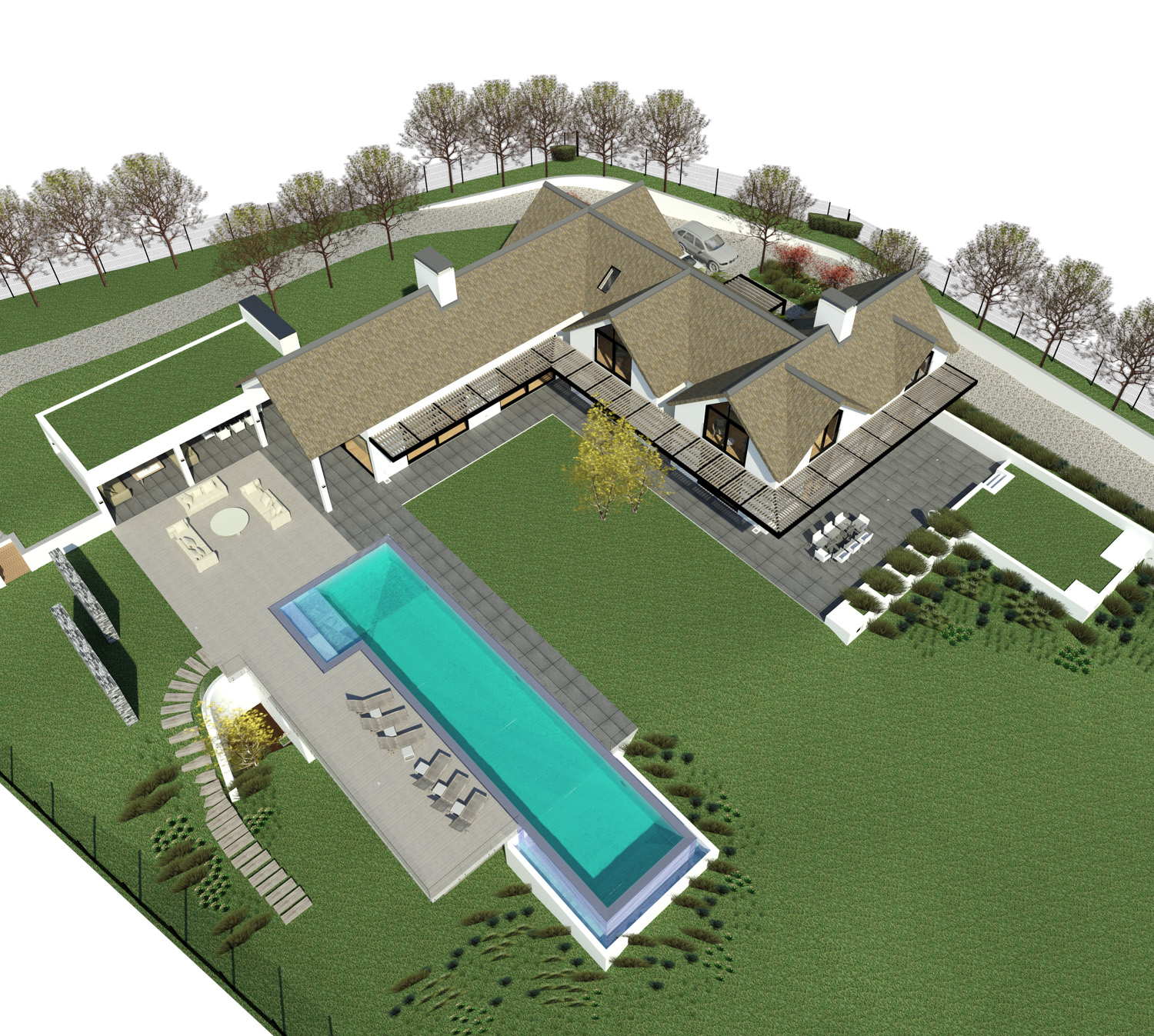 Noordhoek Valley Estate residential design and render by Jenny Mills Architects - Render View (Overview) - North View