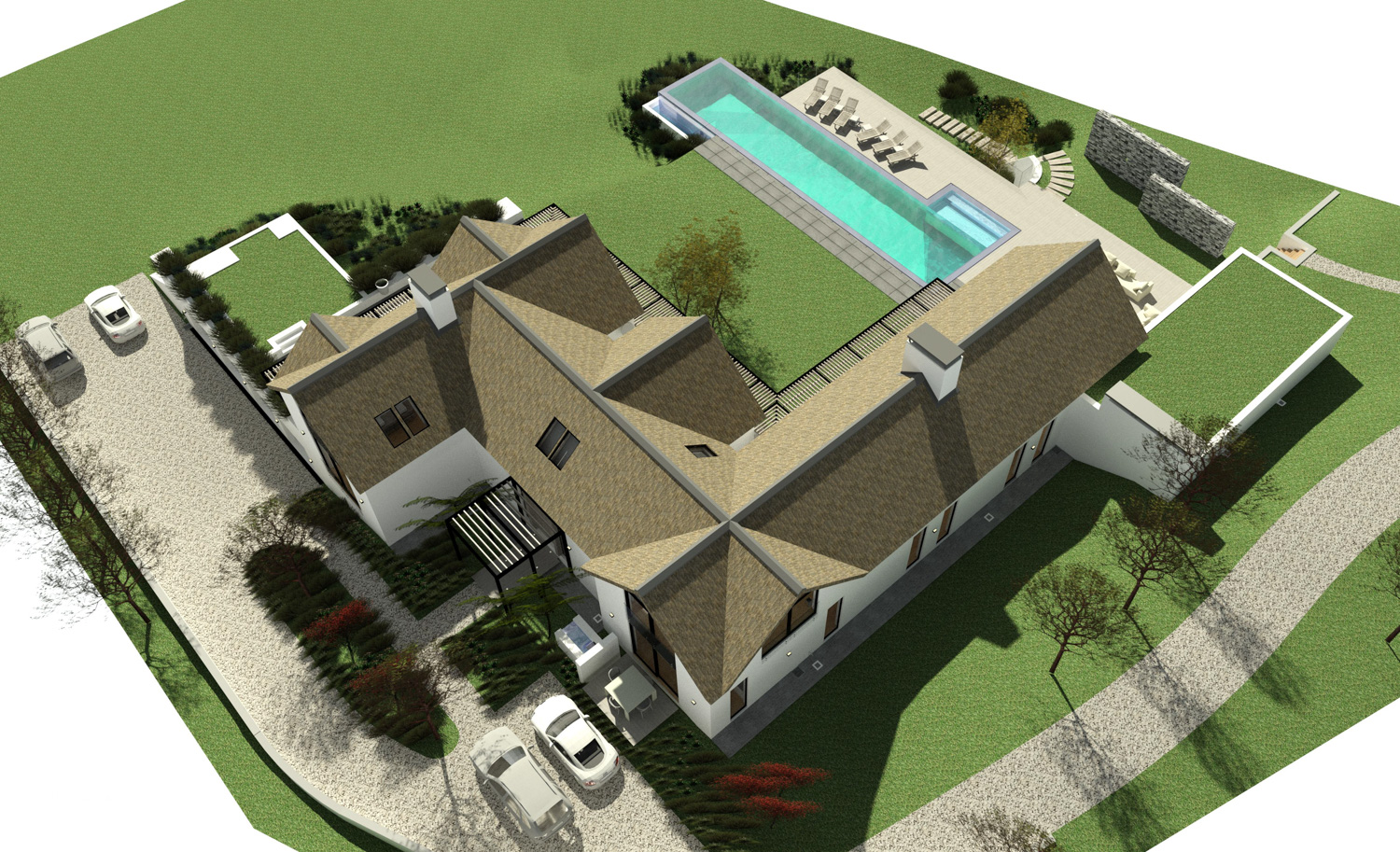 Noordhoek Valley Estate residential design and render by Jenny Mills Architects - Render View (Overview) - South East