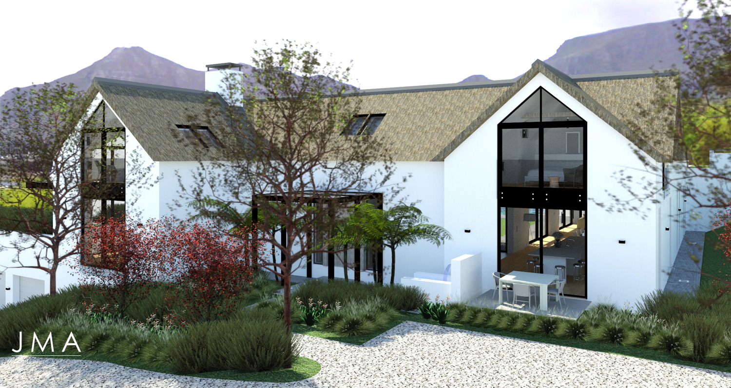 Noordhoek Valley Estate residential design and render by Jenny Mills Architects - Render View - South East 1
