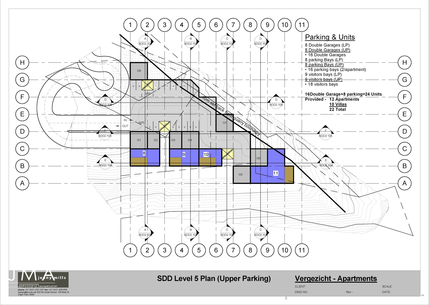 Vergezicht Cape Town development of Villas & Apartments Level 5 Plan (Upper Parking) designed by Jenny Mills Architects