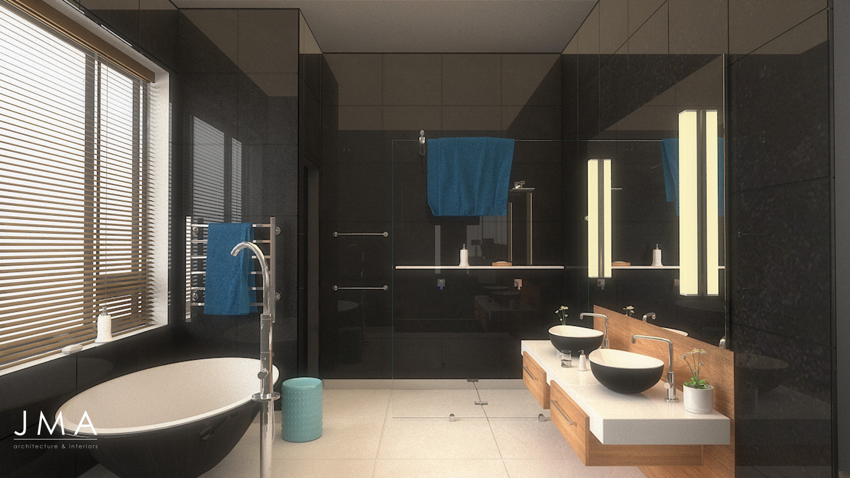 Welgedacht Villa bathroom render - interior architectural design by Jenny Mills Architects