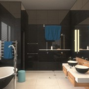Welgedacht Villa bathroom render - interior architectural design by Jenny Mills Architects